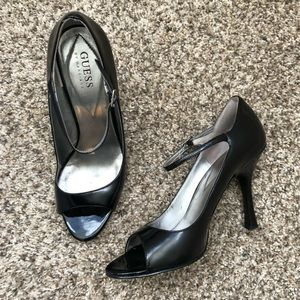 Guess black peep toes pumps with strap size 7.5